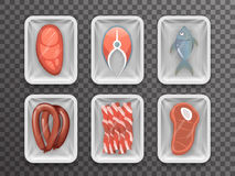 Meat fish sausage bacon tenderloin disposable food pack isolated 3d realistic shop package box with shadow mockup. Meat fish sausage bacon tenderloin disposable Royalty Free Stock Photo