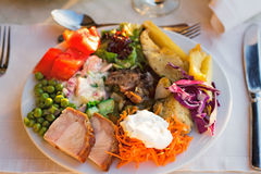 Meat, fish and various vegetable garnish on a plate. Stock Images