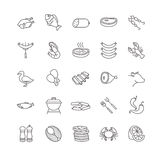 Meat and fish vector icons Royalty Free Stock Image