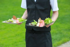 Meat, fish, vegetable canapeson a tray in the hands of the waiter outdoor Stock Photography