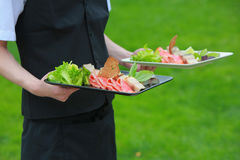 Meat, fish, vegetable canapeson a tray in the hands of the waiter outdoor Royalty Free Stock Photos