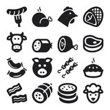 Meat flat icons. Black vector illustration