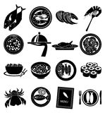 Meat sea food icons set Stock Images