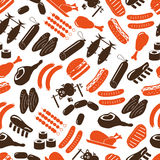 Meat food icons and symbols color seamless pattern Stock Image