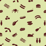 Meat food icons and symbols seamless pattern Royalty Free Stock Image