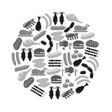 Meat food icons and symbols set in circle eps10. Meat food icons and symbols set in circle Stock Photos