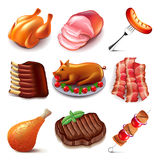 Meat food icons vector set royalty free illustration