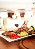 Meat food roast ribs on wooden plate Stock Image