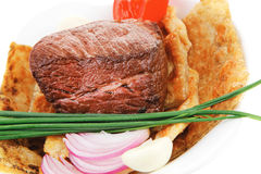 Meat food : roasted fillet mignon on bread Stock Image