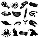 Meat foods icons set. In black Stock Photos