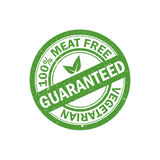 100% meat free rubber grunge stamp. Vegetarian food icon. Vector. Illustration Stock Images