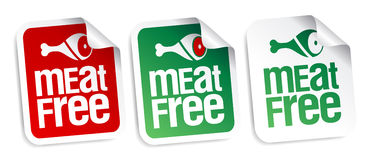 Meat free stickers. Royalty Free Stock Photo