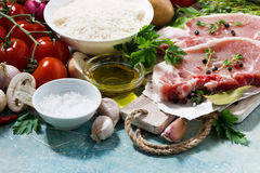 Meat and fresh foods for cooking soup Stock Photo