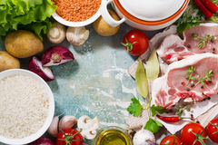 Meat and fresh foods for cooking soup, top view Royalty Free Stock Photo