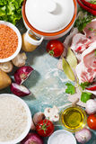 Meat and fresh foods for cooking soup, vertical top view Royalty Free Stock Photos