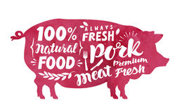 Meat, fresh pork, vector label. Silhouette pig with lettering to menu restaurant  Stock Images