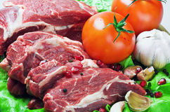Meat and fresh vegetables Stock Photos