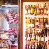 Meat fridge and wine cooler in a fancy steak house Stock Photo