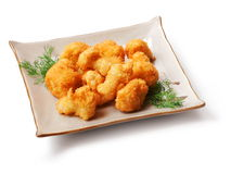 Meat fried in batter, dill. In squared plate over white background Stock Photos