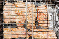 Meat fried on grill Royalty Free Stock Photo