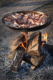 Meat, fried over an open fire. Meat fried in a homemade pan over an open fire Stock Photography
