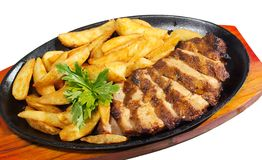 Meat and fried potatoes isolated Royalty Free Stock Photos