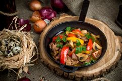 Meat fried with vegetables stock image