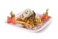Meat with fries Royalty Free Stock Images