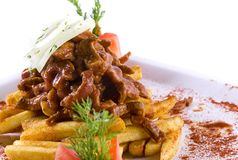 Meat with fries Stock Image