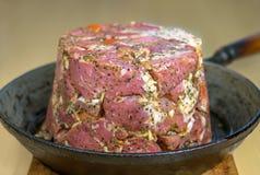 Meat in frying pan. Beautiful meat is fried in a frying pan Stock Photo