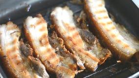 Meat frying in pan stock video footage