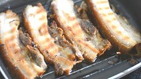 Meat frying in pan stock footage