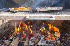 Meat getting ready on bbq Royalty Free Stock Photo