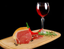 Meat and glass of wine Stock Photo
