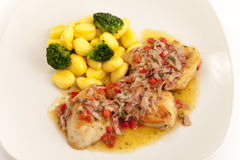 Meat with gnocchi and broccoli Royalty Free Stock Photography