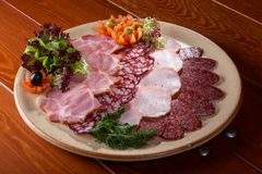 Meat gourmet foods. Smoked fillet, sausage and salami Stock Photo