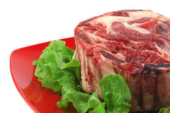 Meat and green salad close-up Royalty Free Stock Photography
