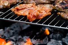 Meat on the grill Stock Photos