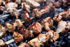 Meat grill. On the fire Stock Images