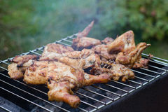 Meat on grill stock images
