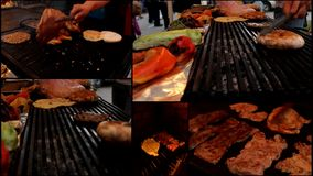 Meat grill burgers  multi screen Royalty Free Stock Photography