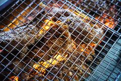 Meat on the grill with flame. Outdoor bbq.  royalty free stock image