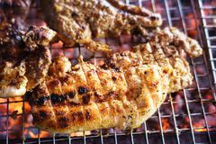 Meat on the grill with flame. Outdoor bbq.  stock photography