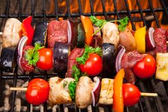 Meat on grill. Fresh meat prepared on grill Stock Photo