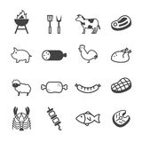 Meat and grill icons. Mono vector symbols Stock Image