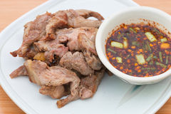 Meat grill with sauce on dish Stock Image