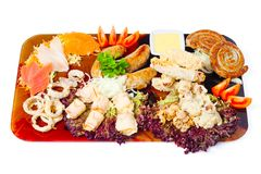 Meat a grill and seafood on a tray Royalty Free Stock Photography