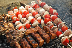 Meat on the grill and skewers Stock Image