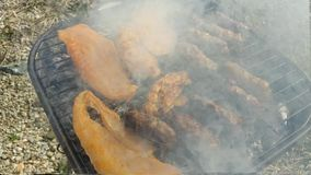 Meat on the grill in a close view stock footage