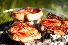 Meat on grill. Top sirloin steak on a barbecue, shallow depth of field. Summer BBQ closeup, outdoor grill concept. Grilled steak meat cooked on carocal royalty free stock photo